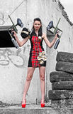Girl with weapons Royalty Free Stock Photography