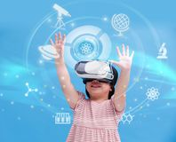 Girl wear vr learning science Stock Image