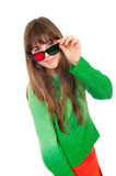 Girl wearing 3D glasses Royalty Free Stock Images
