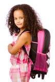 Girl wearing backpack Stock Image