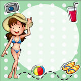 A girl wearing a bikini with a hat Stock Images