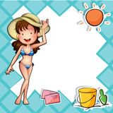 A girl wearing a bikini with a hat Royalty Free Stock Photography