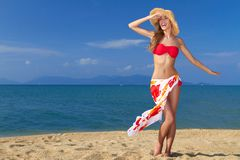 Girl wearing bikini and hat, posing at the beach Stock Photo
