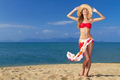 Girl wearing bikini and hat, posing at the beach Royalty Free Stock Image