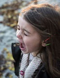 Girl Wearing Black Jacket and Gray Shirt With Open Mouth during Daytime Royalty Free Stock Photography