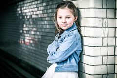 Girl Wearing Blue Denim Jacket stock photography