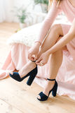 Girl wearing blue high heels Royalty Free Stock Image