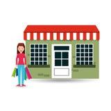 Girl wearing blue pants shopping bags gift Stock Image