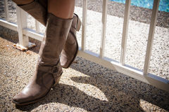 Girl Wearing Boots Stock Photos