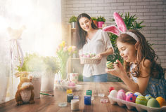 Girl wearing bunny ears stock photos