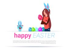 Girl Wearing Bunny Ears Paint Eggs Over Happy Easter Template Background With Funny Rabbit. Flat Vector Illustration Stock Photography