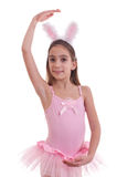 Girl wearing bunny ears on white Royalty Free Stock Photo