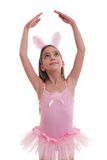 Girl wearing bunny ears on white Stock Photo