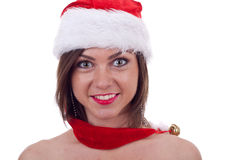 Girl wearing a christmas cap Royalty Free Stock Photo