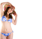 Girl wearing a colorful beach hat Royalty Free Stock Image