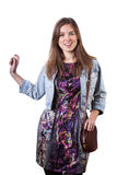 Girl wearing colorful dress and denim jacket Royalty Free Stock Photo
