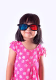 Girl wearing 3D glasses Stock Photography
