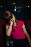 Girl wearing 3d glasses while sleeping Royalty Free Stock Images