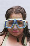 Girl wearing diving mask Stock Photos