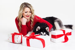 Girl wearing dress with gifts and her husky dog Royalty Free Stock Image