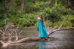 Girl wearing dress standing in river near forest Stock Photo