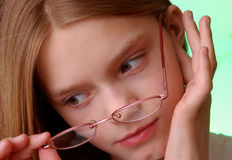 Girl wearing eyeglasses Royalty Free Stock Image