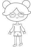 Girl wearing eyeglasses coloring page Royalty Free Stock Photography