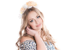 Girl wearing  floral wreath Stock Photos