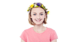 Girl wearing flowers crown Stock Photos