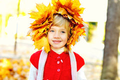 Girl wearing foliage wreath Royalty Free Stock Images