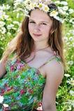 Girl wearing garland Stock Photos