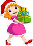 A girl wearing gifts Stock Photography