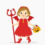 Girl Wearing Halloween Red Devil Costume Cartoon Vector. A girl wearing red devil costume holding a trident and pumpkin bucket full of candies. Halloween cartoon Royalty Free Stock Image