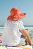 Girl Wearing Hat At The Beach Royalty Free Stock Photos