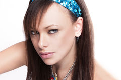 Girl wearing headband Stock Image