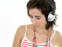Girl wearing headphones Royalty Free Stock Photography