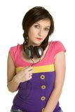 Girl Wearing Headphones Stock Photo