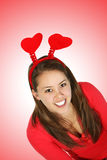 Girl Wearing Hearts on Head Royalty Free Stock Image