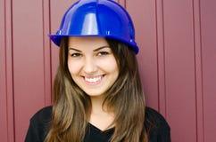 Girl wearing a helmet. Stock Photo