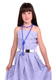 Girl wearing her mother's dress which is too big Royalty Free Stock Image