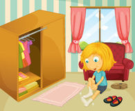 A girl wearing her socks. Illustration of a girl wearing her socks Royalty Free Stock Image