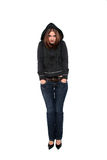 Girl wearing hooded sweater Royalty Free Stock Photo