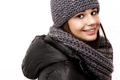 Girl wearing a hooded winter coat Royalty Free Stock Photography