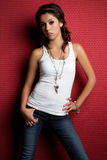 Girl Wearing Jeans royalty free stock image