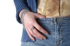 Girl wearing jeans and bangle Stock Images