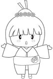Girl wearing kimono coloring page Stock Photo