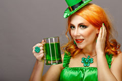 Girl wearing leprechaun Royalty Free Stock Photo