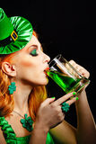 Girl wearing leprechaun Royalty Free Stock Photos