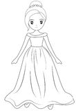 Girl wearing a long gown coloring page Stock Photo