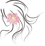 Girl wearing a Margaret flower Stock Photo